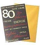80. Geburtstag Glückwunschkarte Geburtstagskarte mit Zahl 80 Grußkarte (Schwarz)