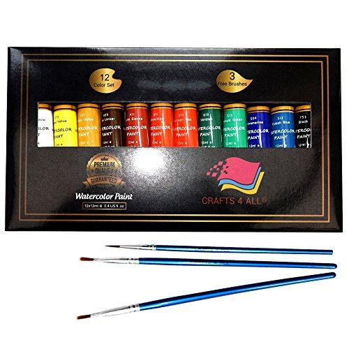 Watercolor Paint Set by Crafts 4alle 12Premium Qualität Art Aquarelle Malerei Kit für Künstler, Studenten und Anfänger–Perfekt für Hochformat und Querformat Gemälde auf Leinwand (Malerei-kit Für Anfänger)