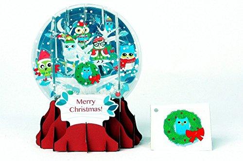 n Schneekugel Grußkarte PopShot Eulen im Schnee 9x13cm ()