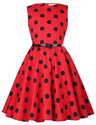 Swing Retro Polka Dots Abendkleid Partykleid 6-7 Jahre KK250-15 - 7 Dot
