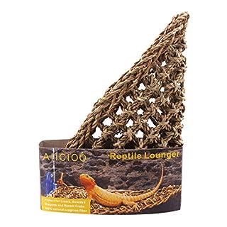 AIICIOO Dreieckig Hängematte für Bartagame/Eidechse / Schlange/Geckos Robust Gras Repti Handgewebt Mat Sonnenbank Verpackt mit Suckers und Hanf Rope Hammock for reptile-32x32x41 cm