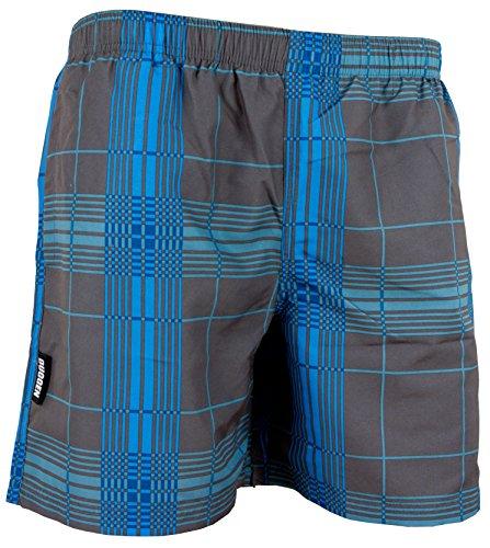 GUGGEN Mountain Herren Badeshorts Beachshorts Boardshorts Badehose Schwimmhose Männer kariert Farbe Grau M