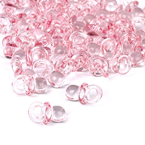Pixnor Piccola rosa acrilico Baby ciuccio Baby Shower favori 50 pezzi