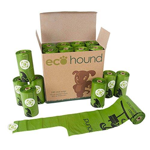 ecohound 240piccolo cane poo Sacchetti con manici Borsa rifiuti cane biodegradabili rotoli | Poop Bags