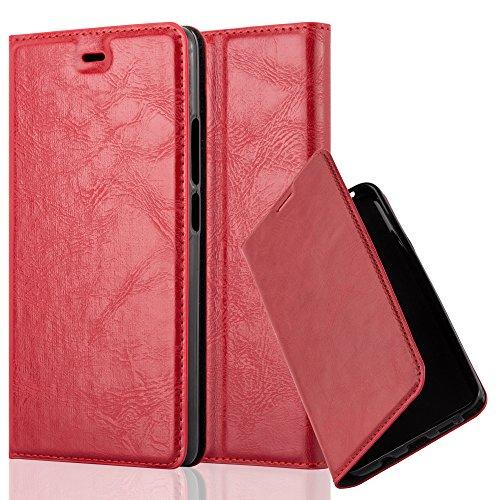 Cadorabo Hülle für ZTE Nubia Z9 MAX - Hülle in Apfel ROT – Handyhülle mit Magnetverschluss, Standfunktion und Kartenfach - Case Cover Schutzhülle Etui Tasche Book Klapp Style