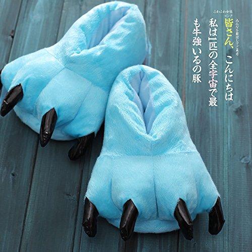 SED Claw Schuhe Unisex Pyjamas Plüsch One Piece Cosplay Tier Kostüm Matching Schuhe,Himmelblau,31-38