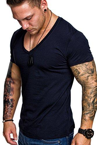 Amaci&Sons Oversize Herren Slim-Fit V-Neck Basic T-Shirt V-Ausschnitt 1-0006 Navyblau XL