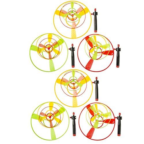 6x Flugkreisel Spiel Hubschrauber Propeller fliegende Untertasse Mitgebsel Tombola -