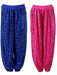 NumBrave Women's Regular Fit Harem Pants (Pack of 2) (EANHAREMPRINTED_PINK_BLUE_Pink & Blue_Free Size)