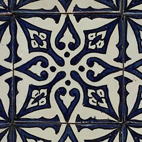 Orientalische Keramikfliese Sara Blau 10 x 10 cm handbemalte marokkanische Fliese Kunsthandwerk aus Marrakesch Wandfliese für schöne Küche Dusche Badezimmer