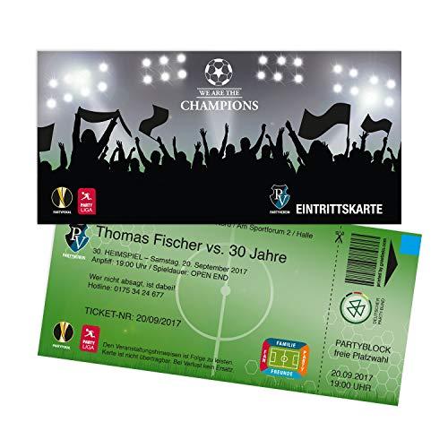 Einladungskarten Geburtstag als Fußballticket | 50 Stück | Einladungen Karte | Einladungskarte Kindergeburtstag Junge | Druck Ihrer Texte inkl.