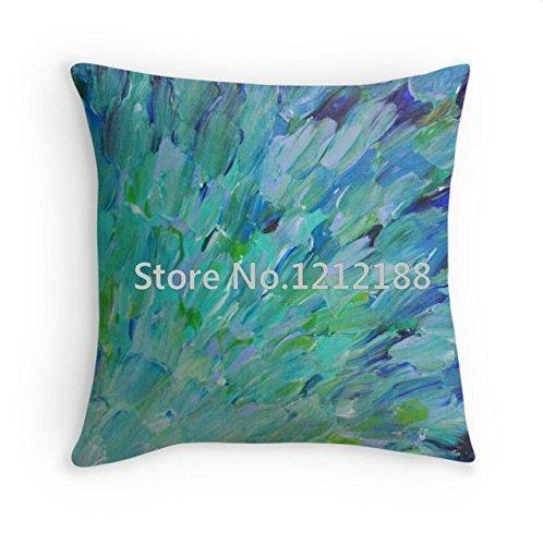 Kenneth Étui magnifique BC Océan Thème Sirène paon plumes Nageoires vagues bleu sarcelle abstraite taies d'oreiller 45,7 x 45,7 cm (One Side)