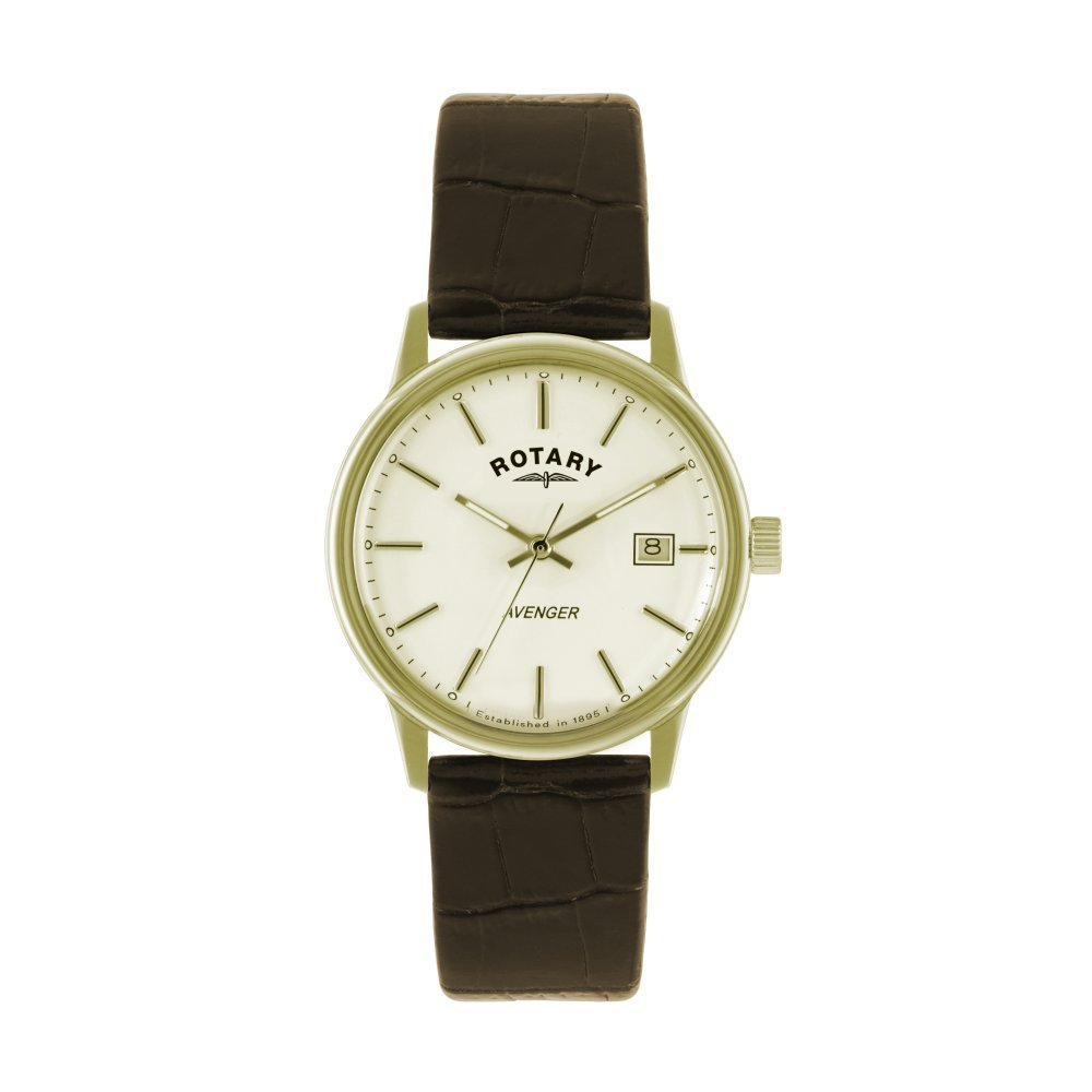 Gents Mens Gold Tone Rotary Avenger Quartz Battery Watch on Brown Leather Strap with Date. GS02876/03