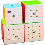 D ETERNAL QiYi Combo Cube Set of 2x2 3x3 4x4 5x5 High Speed Stickerless Magic Puzzle Game,Multicolor