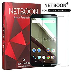 NETBOON® Motorola Nexus 6 Tempered Glass Premium Screen Protector - Anti Explosion, Ultra Clear Screen Guard, Shatterproof, Anti-Scratch, Bubble-free, Oleophobic Coating, 2.5D Round Edge - 0.33mm Thickness, 9H Hardness