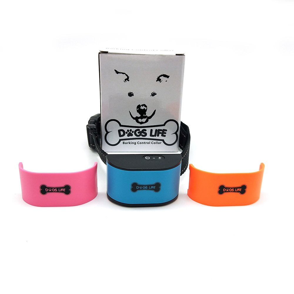 Anti Barking Dog Collar | Stops Dogs Barking With Sound & Vibration | Humane & Harmless No Bark Collar | Training For Small, Medium & Large Dogs | 3 Different Colours & FREE! LED Dogs light (Blue, Orange, Pink)