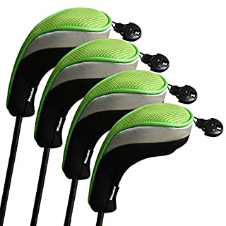 Andux Golf Hybrid Club Head Covers Set Of 4 Black & Green Interchangeable No. Tag MT/hy05