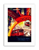 1934 CHICAGO WORLD FAIR TRAM AIRSHIP Travel Exhibition Canvas art Prints
