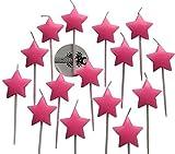 molinoRC 15x Sternkerze rosa für Einhorn | Prinzessin Lillifee Geburtstag | Kerze Tortenkerzen Feier | Fest Stern Sterne | Geburtstagskerze Dekokerze | Happy Birthday BRD