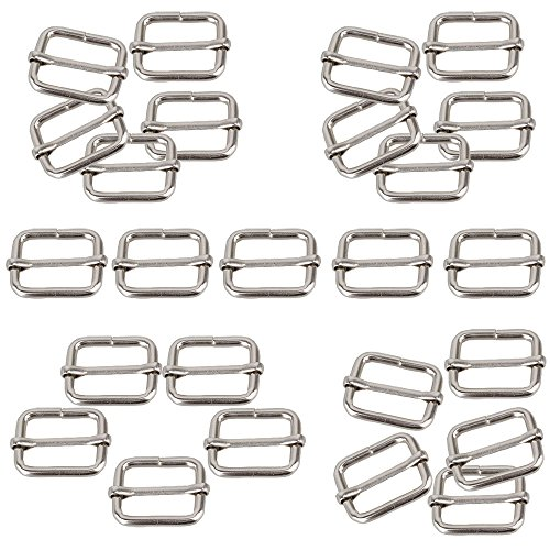 Weddecor 25mm Metal Adjustable Slide Buckle Strap for Making Handbag, Backpack, Luggage Bag 25Pcs, Silver