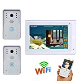 LLY 7 Zoll WiFi IP Door Phone System, Support Remote APP Enlocking, Night Vision, Recording, Snapshot, (1000TVL Wired Camera * 2)