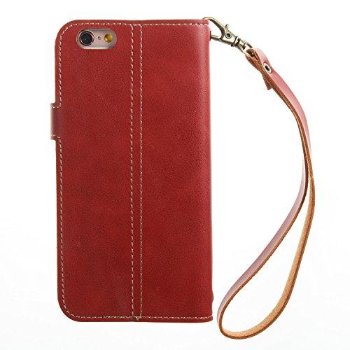 Apple iPhone 6/6S 4.7 hülle, Voguecase Kunstleder Tasche PU Schutzhülle Tasche Leder Brieftasche Hülle Case Cover (Retro verrücktes Pferd Muster/Dunkelblau) + Gratis Universal Eingabestift Retro verrücktes Pferd Muster/Rot