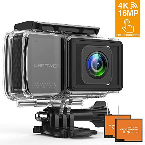 "DBPOWER EX7000 PRO 4K 16MP Action Camera, 2.45"" LCD Touchscreen WiFi Telecamera Sport Impermeabile Sony Sensore Videocamera con Obiettivo Grandangolare da 170°/EIS /2 Batteries/Full Accessori"