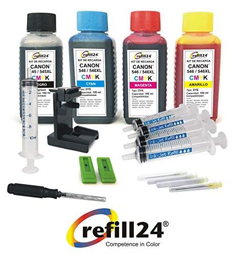 Kit de Recarga para Cartuchos de Tinta Canon 545, 546, 545 XL, 546 XL Negro y Color, Tinta de Alta Calidad Incluye Clip y Accesorios