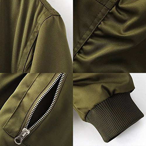 Zhhlaixing Classique Mens Bomber Jackets Non-Padded Loose Fit Work Coats 4 Colors green