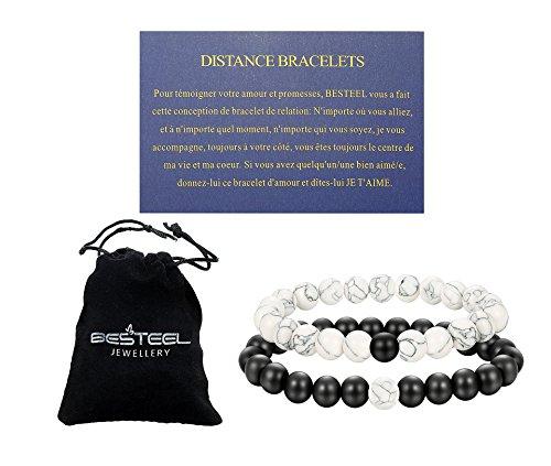 BE STEEL Distanz Armband Stein Perlen Armbänder Herren Damen Liebespaar Weiß Türkis Liebe Armband Beziehung mit Karte Worte der Liebe, - Mit Armband Türkis-perlen