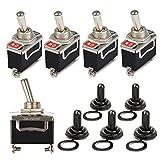 OFNMY 5pcs Metal KN3-101 interruttore a bilanciere con coperchio 2 pin 15 V 20A per auto cruscotto con coperchio impermeabile