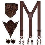 Aissy Hosenträger für Herren 3.5cm Y-Form Elastisch und Längenverstellbar Hosenträger Breit mit 6 starken Clips und Krawatte & Einsteckuch,YG Braun