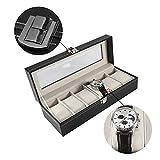 Zunate Uhrenbox,Uhrenkasten Uhrenkoffer Schmuckkasten aus Holz + PU-Leder,mit 6 Steckplätze,tolles Geschenk,für Das Sammeln Uhren oder Schmuck