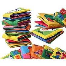 chengyida 6-Pack bebé suave libro de tela, papel sonajero suave gamuza libros infantil juguete para recién nacido de cochecito cuna cama bebé juguetes educativos 0–12Mes