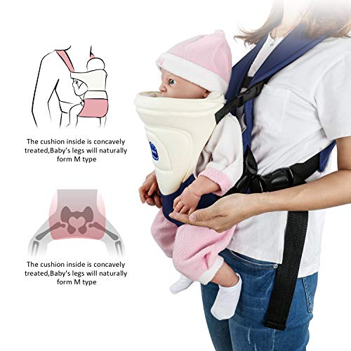Windsleeping Baby Carrier Portable Front Baby Sling Detachable Perfect for Nursing 3 Months to 6 Months Infant and Toddlers - Dark Blue  Windsleeping