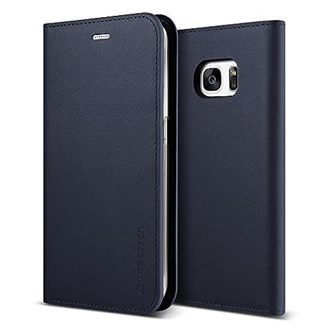 Étui / Housse Galaxy S7, VRS Design [Genuine Leather Case][Navy]