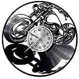 WoD Harley Davidson Orologio da Muro Unico Dischi in Vinile Movimento al Quarzo Silenzioso Handmade NeroCreativo Orologio Decorativo da Parete a Muro Mechanical Art Decor Disco in Vinile