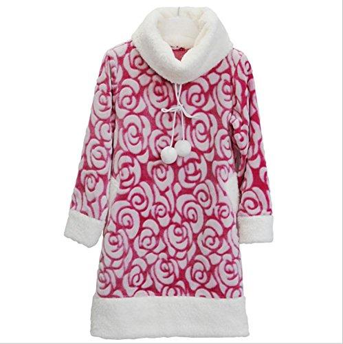 DMMSS Signore della camicia da notte di flanella pigiami in autunno e inverno imbottito maniche lunghe Sleepwear Robe , blue rose , m - Terry Bambino Bambola