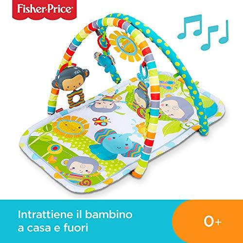Fisher-Price Palestrina delle Scimmiette con 2 Soffici Archi, 6 Giocattoli Sospesi e Musica, Tappetino Lavabile, per Neonati dai 0+ Mesi, CLJ42