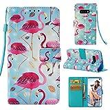 ToneSun Samsung Galaxy S10 Lite Hülle Case, Leder Filp Wallet Handyhülle Flipcase: 3D Malerei Multifunktionale Tasche Cover Brieftasche Schutzhülle in Flamingo