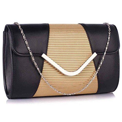 13a02e119da9d TrendStar Womens Designer Clutch Bag Sehr geehrte Damen Stil Flap Handtasche  Hochzeit Tasche Schwarz Nude