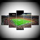 xjzjy Bilder 5 Teilig Leinwandbilder Sport Fußball Bild Kunstwerk Wand Poster Und Drucke Spanien Barcelona Leinwand Malerei Dekor Zimmer-Gürtelrahmen