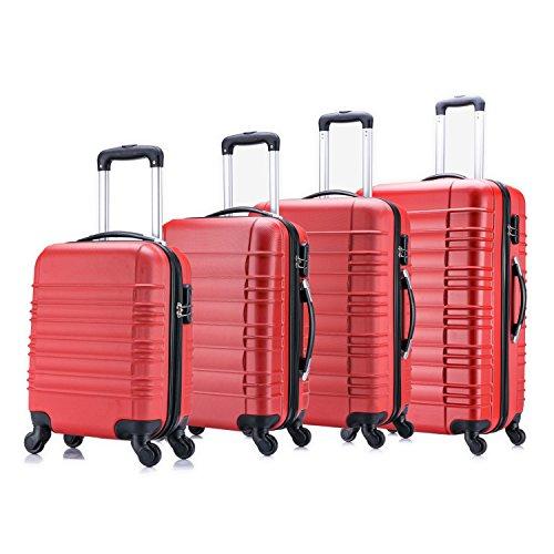 4 teiliges Koffer Set von Jalano Reisekofferset ineinander stapelbar Gepäck-Set Koffer Trolley Hartschale, Farbe: rot