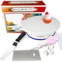 Bakeware Pro Cake Turntable Rotating Stand with Icing Piping Pastry Bag and Five Nozzle Tips| Decorating Comb Smoother| Angled Icing Spatula| Perfect Revolving Decorating Set