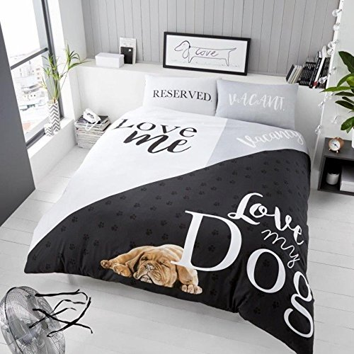 Adams 3D Tier Print Bettbezug Bettwäsche Set mit Paar Kissen Fall Single Double King s-King Größe, Polyester, Love My Dog, Einzelbett (Dog Print Bettwäsche)