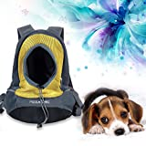 Pet Carrier Front Pack Dog Cat Travel Bag Backpack Suitable for Pets up to 8kg (L, Yellow)