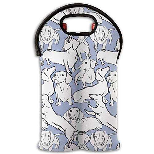 White Dog Pattern 2 Bottle Wine Carrier Wine Tote Carrier Bag/Purse for Champagne, Wine, Water Bottles,Wine Bottle Carrier. (Dog White Carrier)