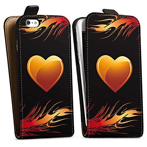 Apple iPhone X Silikon Hülle Case Schutzhülle Herz Flammen Liebe Downflip Tasche schwarz