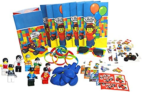 Lego-Themed Party Favors by Pixel Party Designs, Super Fun 8-Packs of Bags, Stickers, Wristbands, Balloons, Temporary Tattoos, Mini Figures, FREE Brick Sunglasses for Birthday Kid