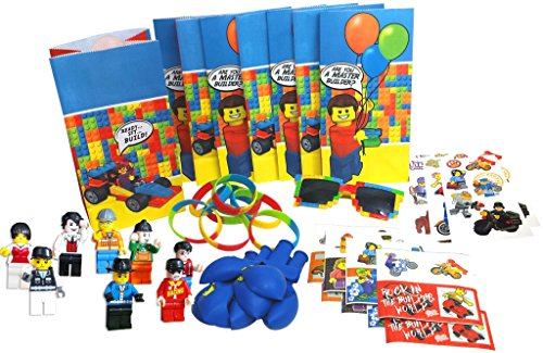 Party Favor Set for a Lego-Themed Birthday Party, Super Fun 8-Packs of Bags, Stickers, Wristbands, Balloons, Temporary Tattoos, Mini Figures, and BONUS pair of Brick Sunglasses for Birthday Kid